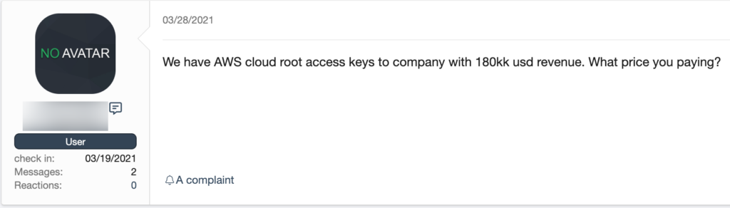 Marketplace listing for AWS cloud root keys from XSS.is