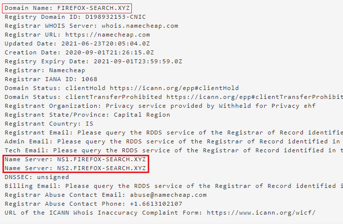 C2 Whois and nameservers example